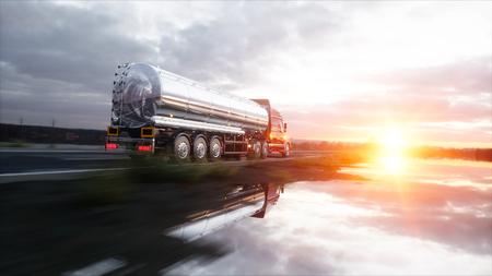 가솔린 유조선, 석유 트레일러, 고속도로에서 트럭. 매우 빠른 운전. 3d 렌더링.