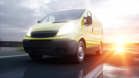 Yellow delivery van on highway. Very fast driving. Transport and logistic concept. 3d rendering. Фото со стока - 90227021
