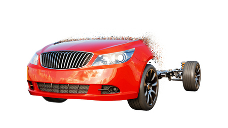 Red car isolate. Transition with particles. Auto concept. 3d rendering.