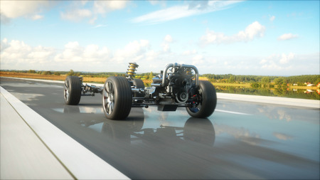 Car chassis with engine on highway. Very fast driving. Auto concept. rendering.