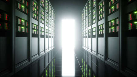interior of server room in datacenter. 3d rendering. Stock Photo