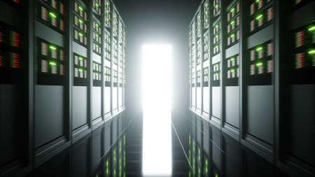 storage room: interior of server room in datacenter. 3d rendering. Stock Photo