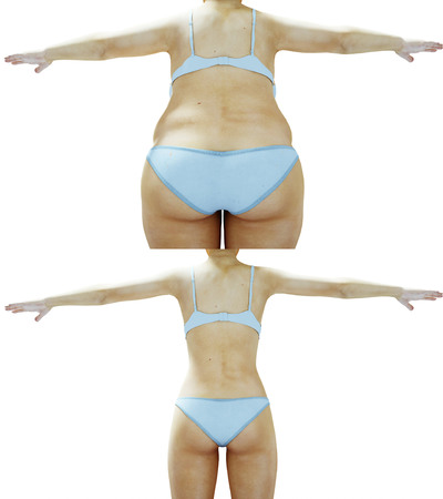 Fat women. Slimming and obesity process. Women weight loss success. Diet and health concept. Isolate. 3d rendering.