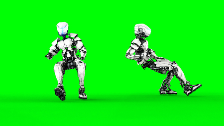 Futuristic robot isolate on green screen. Realistic 3d render. Stock Photo