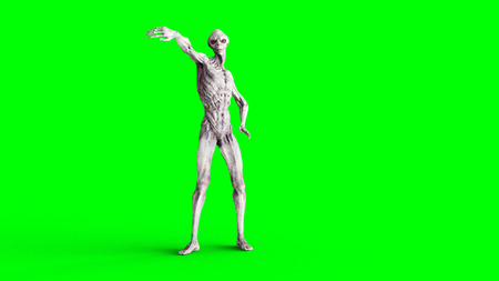 Alien isolate on green screen. UFO concept. Realistic 3d rendering.
