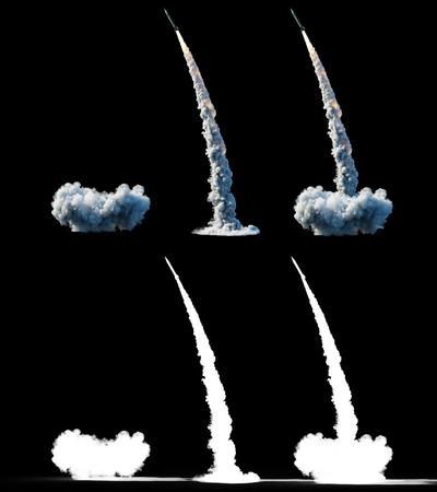 核弾道ロケット 複雑ロケットを打ち上げ、ほこりを分離。3D レンダリング。