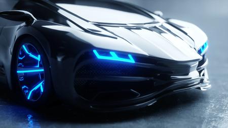black futuristic electric car with blue light. Concept of future. 3d rendering. Stok Fotoğraf
