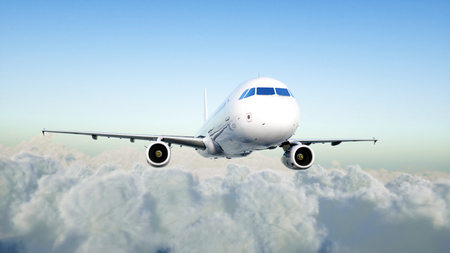 Passenger airplane flying in the clouds. Travel concept. 3d rendering.