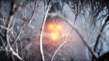 stone screaming head in fog night forest. Fear and horror. Mistyc concept of halloween. 3d rendering.