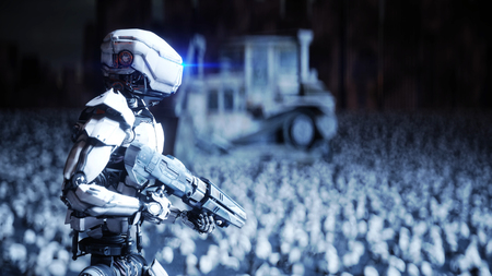 military robot and skulls of people. Dramatic apocalypse super realistic concept. Rise of the Machines. Dark future. 3d rendering. Фото со стока