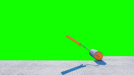 A roll of paving slab. Brush of paving slab. Building concept. green screen isolate. 3d rendering.