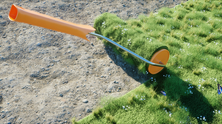 A roll of grass on the earth with butterflies. Brush of grass. Ecology concept. 3d rendering.
