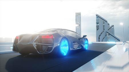 black futuristic electric car very fast driving in sci fi sity, town. Concept of future. 3d rendering. Foto de archivo