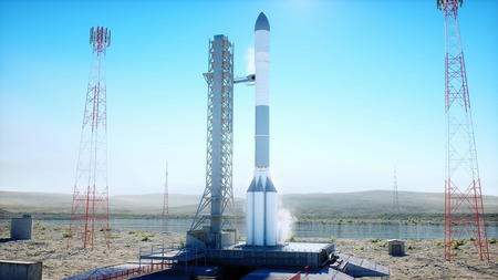 Rocket before the start. Space launch system. 3d rendering.