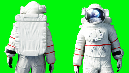 Astronaut stay idle . Green screen. 3d rendering. 版權商用圖片