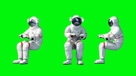Astronaut sit idlle . Green screen. 3d rendering. 版權商用圖片