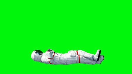 Astronaut idle . Green screen. 3d rendering.