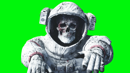 Dead zombie astronaut in space. Cadaver. Green screen. 3d rendering.