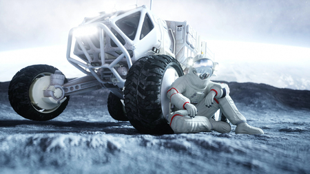 Astronaut on the moon with rover. 3d rendering. Stock Photo