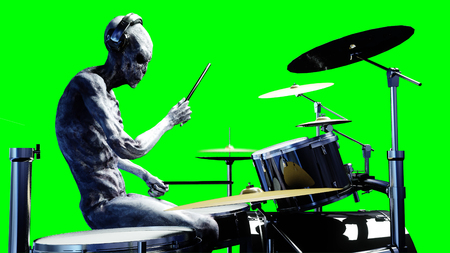 Funny alien plays on drums. Realistic motion and skin shaders. 3d rendering. Stock Photo