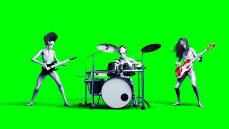 Funny alien rock band. Bass, drum, guitar. Realistic motion and skin shaders Stock Photo