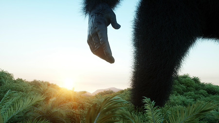 Giant gorilla and helicopter in jungle. Prehistoric animal and monster. Realistic fur. 3d rendering.
