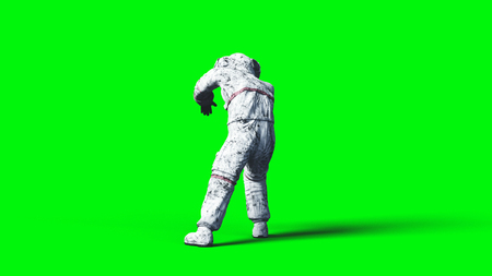 Dead zombie astronaut in space. Cadaver. Green screen. 3d rendering.