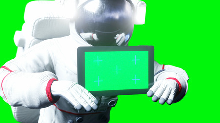 Astronaut in space with tablet, monitor. Green screen tracking footage. 3d rendering. Stok Fotoğraf