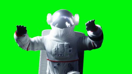 Astronaut levitation in space. Green screen. 3d rendering. Stok Fotoğraf