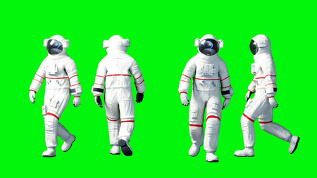 Astronaut walking . Green screen. 3d rendering. Stok Fotoğraf