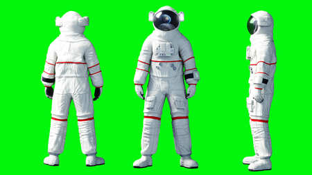 Astronaut stay idle . Green screen. 3d rendering. Stok Fotoğraf