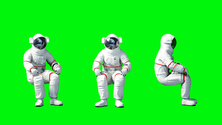 Astronaut sit idlle . Green screen. 3d rendering. Stok Fotoğraf
