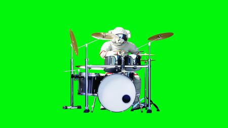 Funny astronaut play to drums . Green screen. 3d rendering. Foto de archivo