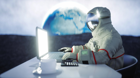 Astronaut on the moon working with notebook . 3d rendering.