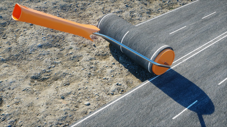 A roll of asphalt. Brush of road. Transport concept. 3d rendering.