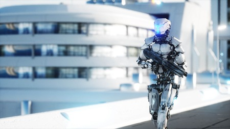 Military robot with gun walking. Futuristic city, town. 3d rendering. Standard-Bild