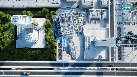 Futuristic city, town. The concept of the future. Aerial view. 3d rendering.