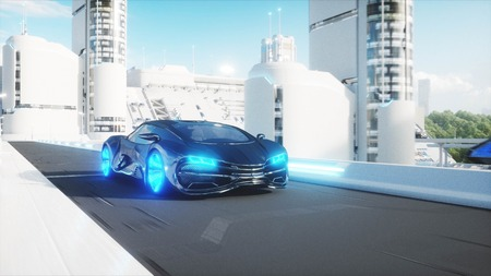 black futuristic electric car very fast driving in sci fi sity, town. Concept of future. 3d rendering. Stok Fotoğraf