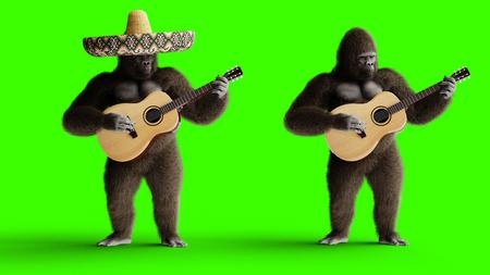 Gorila marrón divertido tocar la guitarra. Pelaje y cabello súper realistas. Pantalla verde. Representación 3D. Foto de archivo
