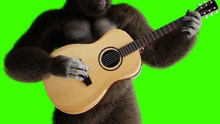 Gorila marrón divertido tocar la guitarra. Pelaje y cabello súper realistas. Pantalla verde. Representación 3D.