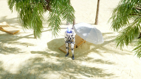 Funny robot dancing on sunny seaside. Tourism and rest concept. 3d rendering.
