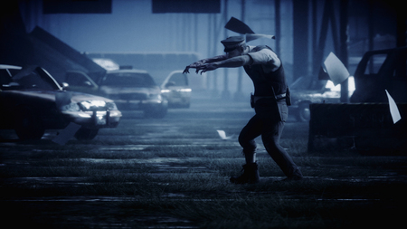 Police zombie in dark destroyed city. Fog dramatic night. Zombie apocalypse concept. 3d rendering.