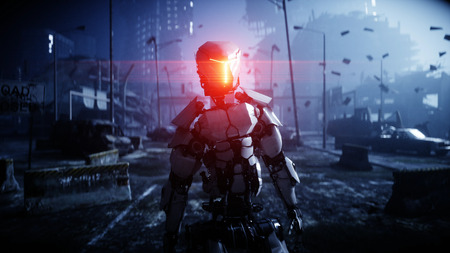 Military robot in destroyed city. Future apocalypse concept. 3d rendering. Banco de Imagens - 110280714