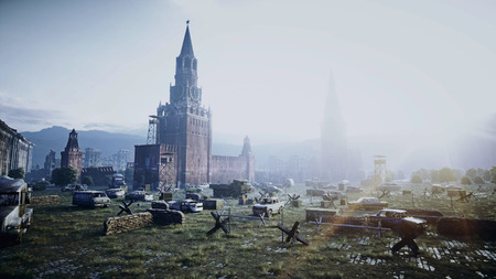 Apocalypse of Russia. Aerial View of the destroyed Moscow city, red square. Apocalypse concept. 3d rendering. Standard-Bild