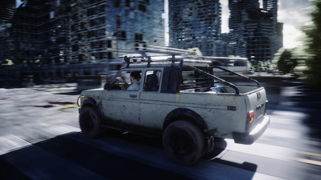 an old car rides in a ruined city. Apocalypse concept. 3d rendering. Imagens