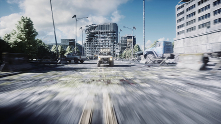 an old car rides in a ruined city. Apocalypse concept. 3d rendering. Stockfoto