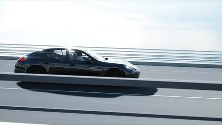 3d model of black sport car on the bridge. Very fast driving. 3d rendering.