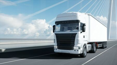 3D-Modell des weißen LKW auf der Brücke. 3D-Rendering.