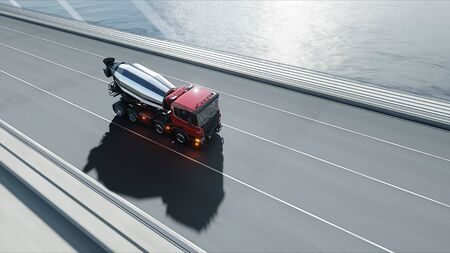3d model of concrete mixer truck on bridge. Very fast driving. Building and transport concept. 3d rendering. 写真素材