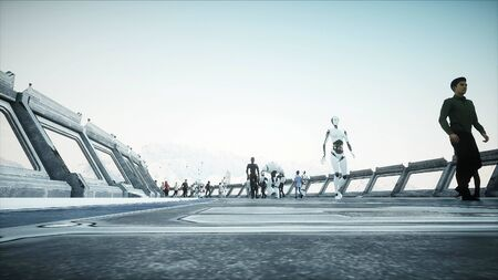 People and robots. Sci fi tonnel. Futuristic traffic. Concept of future. 3d rendering. Фото со стока